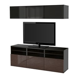 "BESTÅ TV storage combination/glass doors, Selsviken high gloss/brown smoked glass, black-brown Width: 70 7/8 "" Depth: 15 3/4 "" Height: 75 5/8 "" Width: 180 cm Depth: 40 cm Height: 192 cm"