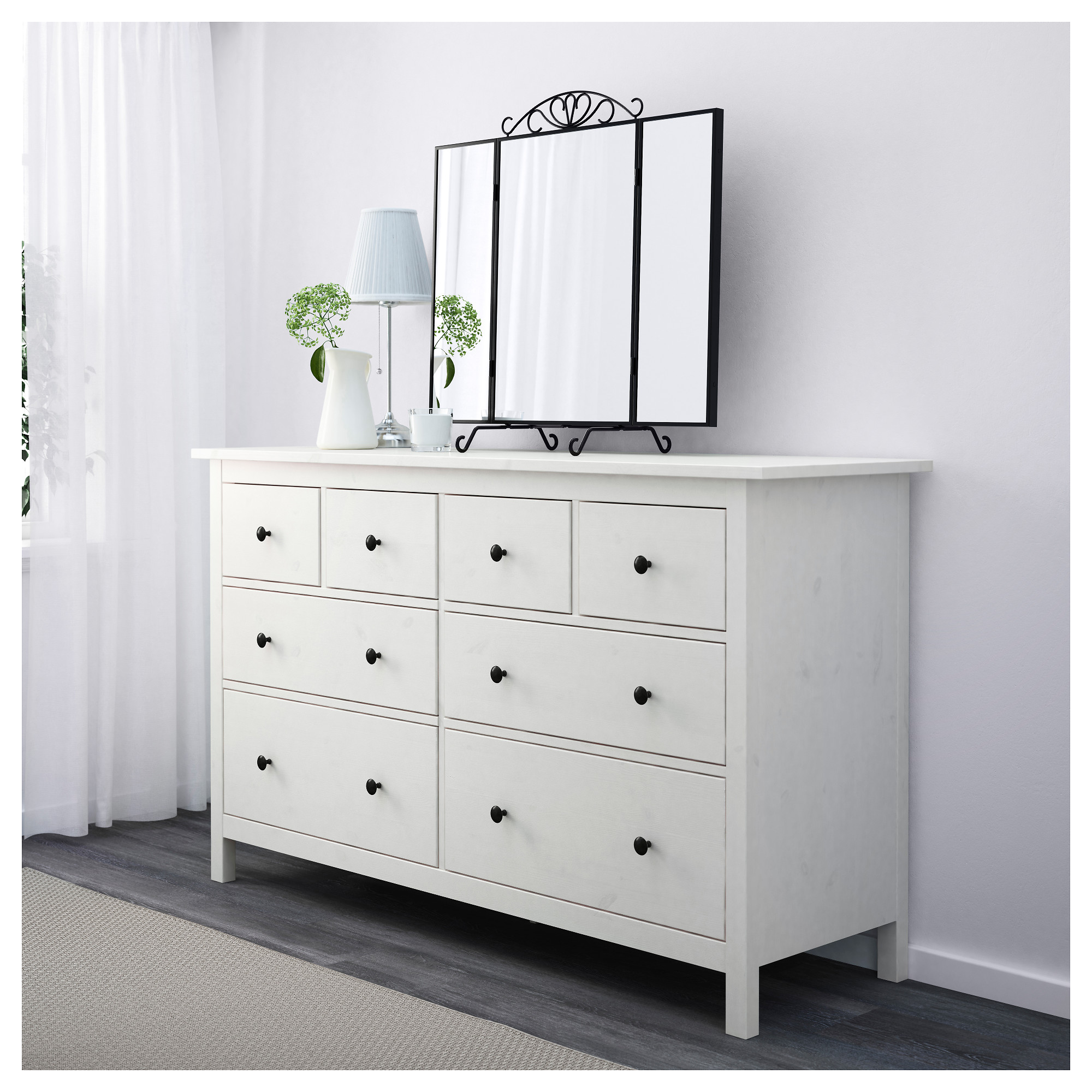 "hemnes 8-drawer dresser - dark gray stained, 63x37 3/8 "" - ikea"