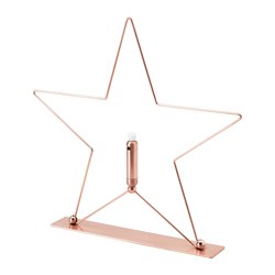 STRÅLA LED table decoration, battery operated, star bronze color