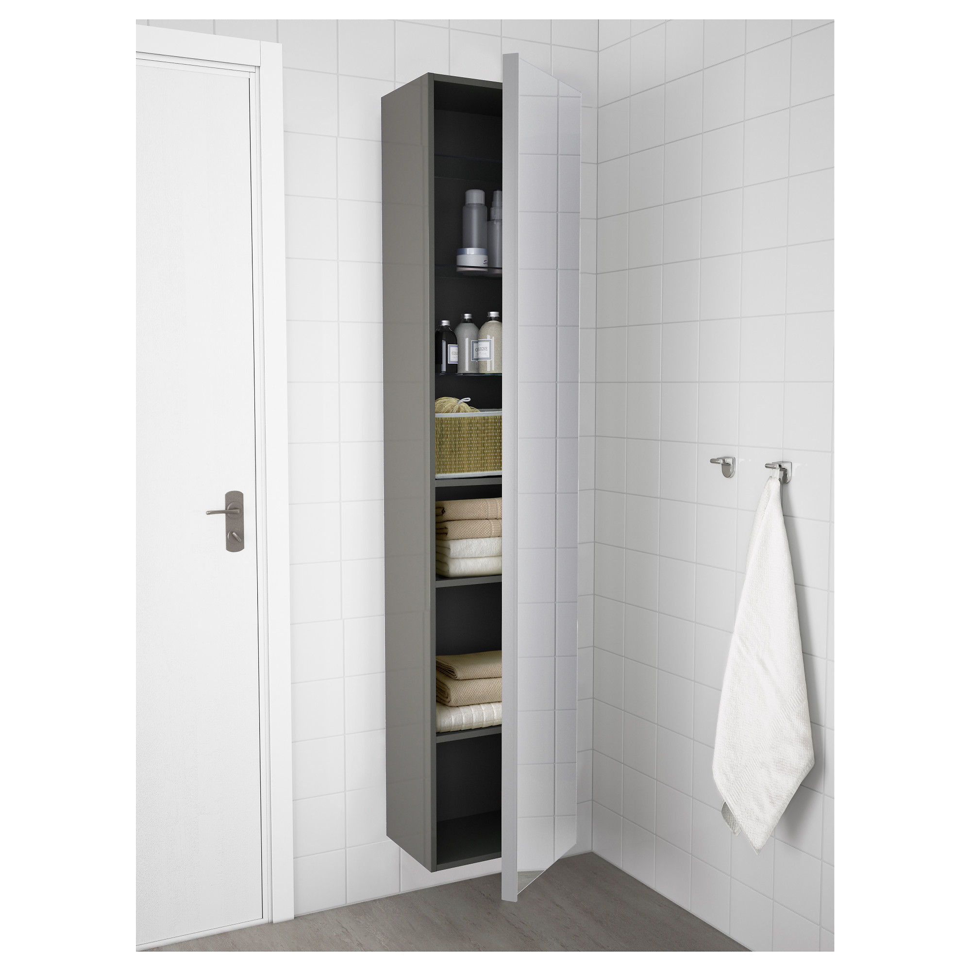 GODMORGON High cabinet with mirror door - white - IKEA