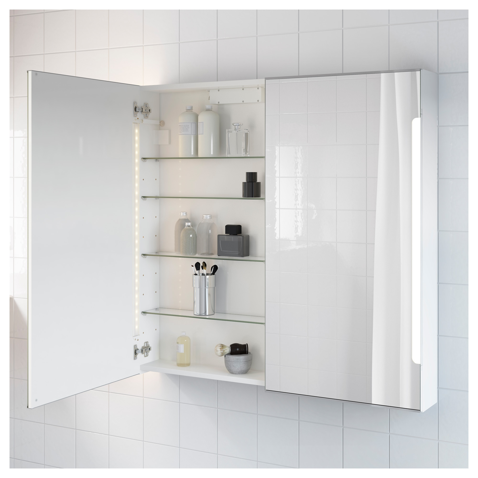 Bathroom Mirror Cabinet With Lights storjorm mirror cabinet w/2 doors & light - ikea