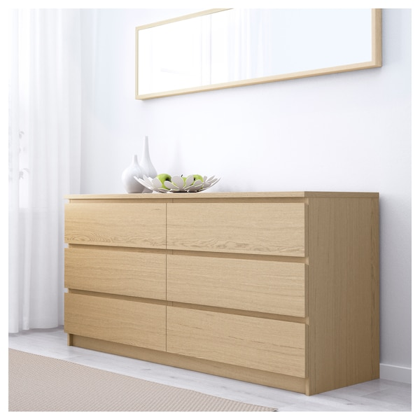 malm kommode mit 6 schubladen eichenfurnier wei lasiert ikea. Black Bedroom Furniture Sets. Home Design Ideas