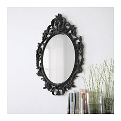 UNG DRILL mirror, oval, black