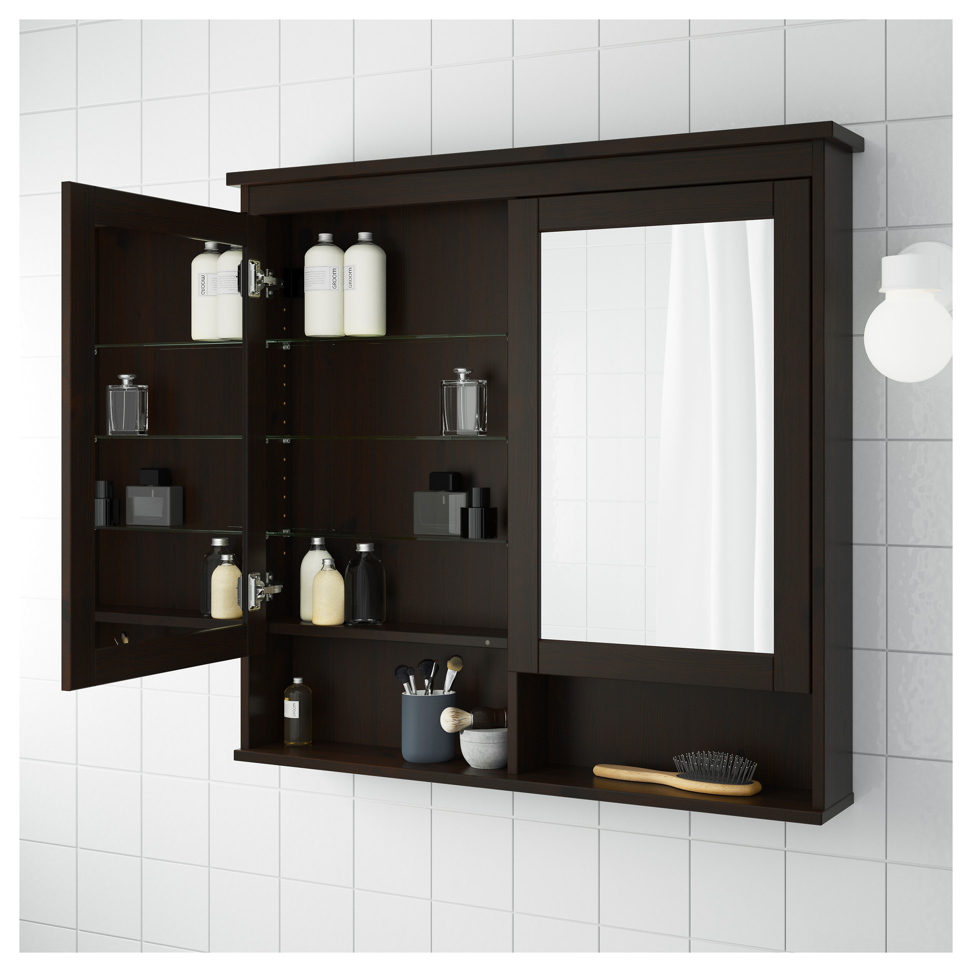 Hemnes Mirror Cabinet With 2 Doors Black Brown Stain 83x16x98 Cm Ikea