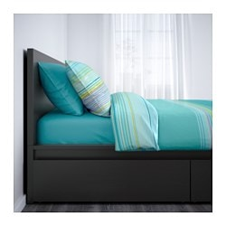 MALM High Bed Frame/2 Storage Boxes, Black Brown, Luröy