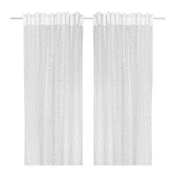 BÄCKTISTEL curtains, 1 pair, white Length: 250 cm Width: 145 cm Weight: 0.65 kg