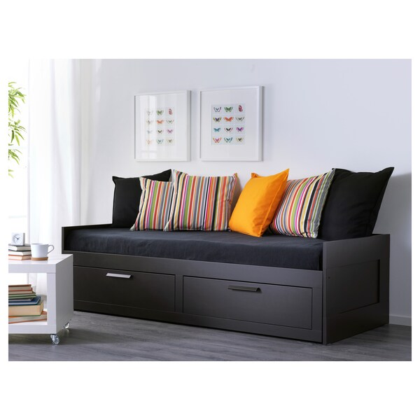 brimnes dagseng med 2 skuffer svart ikea. Black Bedroom Furniture Sets. Home Design Ideas