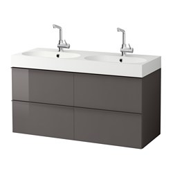 GODMORGON /  BRÅVIKEN wash-stand with 4 drawers, high-gloss grey Width: 122 cm Wash-stand width: 120 cm Depth: 49 cm