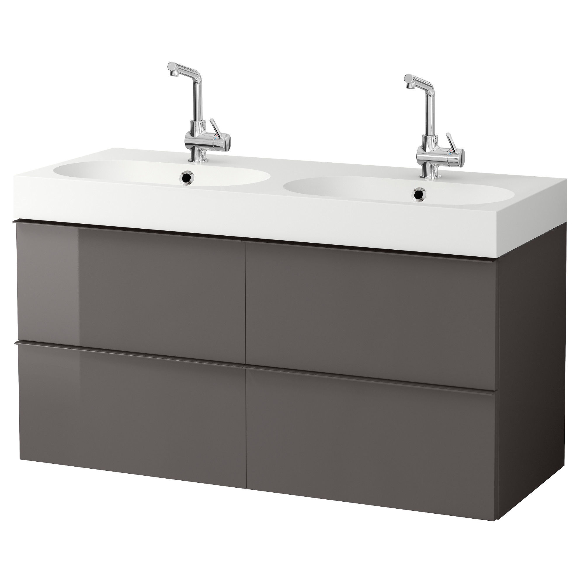 Godmorgon Br Viken Sink Cabinet With 4 Drawers High Gloss Gray Width 48
