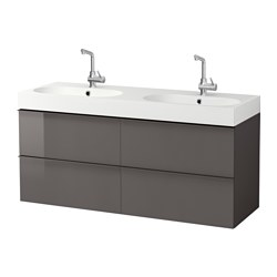 "GODMORGON /  BRÅVIKEN sink cabinet with 4 drawers, high gloss gray Width: 55 7/8 "" Sink cabinet width: 55 1/8 "" Depth: 19 1/4 "" Width: 142 cm Sink cabinet width: 140 cm Depth: 49 cm"