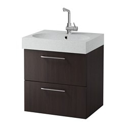"GODMORGON /  BRÅVIKEN sink cabinet with 2 drawers, black-brown, light gray Width: 24 3/8 "" Sink cabinet width: 23 5/8 "" Depth: 19 1/4 "" Width: 62 cm Sink cabinet width: 60 cm Depth: 49 cm"