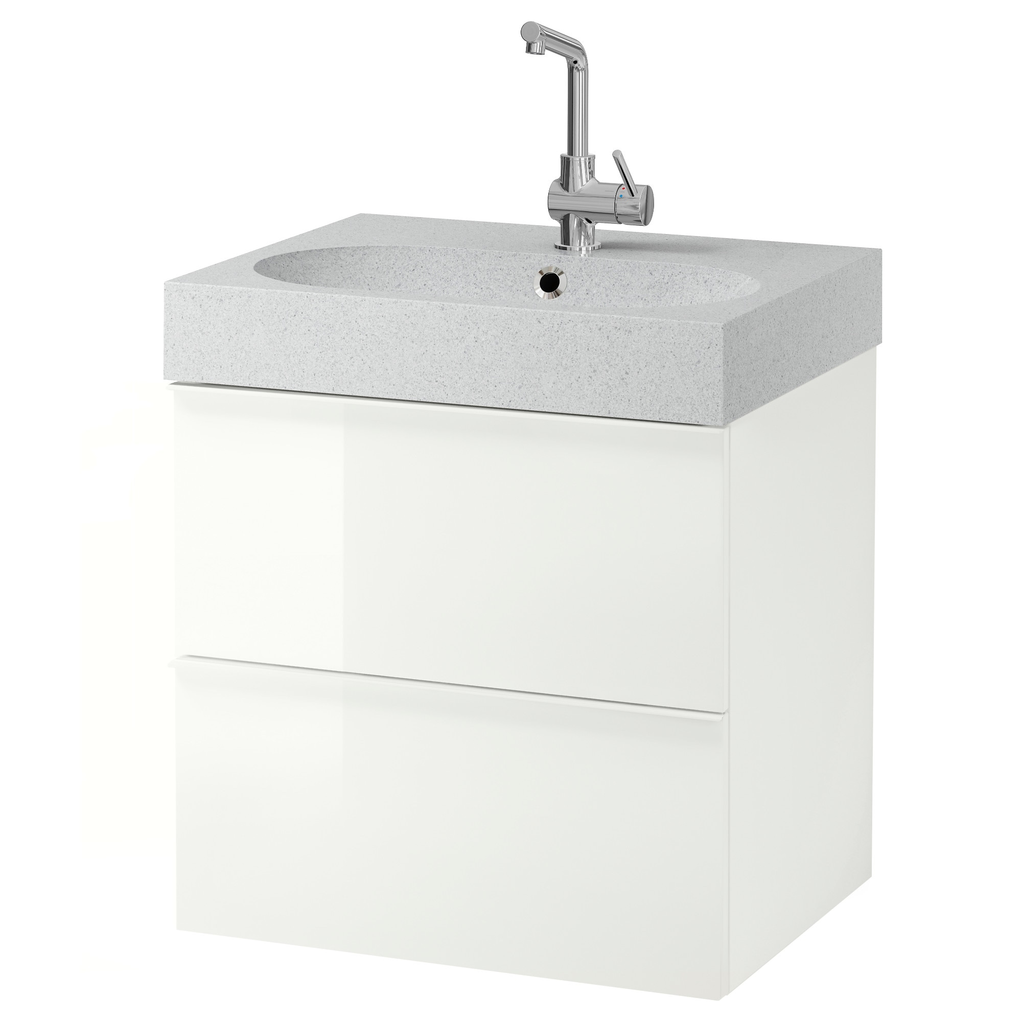 Godmorgon Br Viken Sink Cabinet With 2 Drawers High Gloss White Light Gray Width