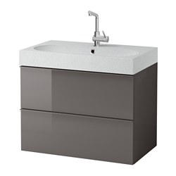 "GODMORGON /  BRÅVIKEN sink cabinet with 2 drawers, light gray, high gloss gray Width: 32 1/4 "" Sink cabinet width: 31 1/2 "" Depth: 19 1/4 "" Width: 82 cm Sink cabinet width: 80 cm Depth: 49 cm"