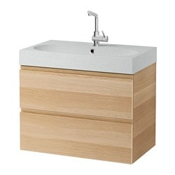 "GODMORGON /  BRÅVIKEN sink cabinet with 2 drawers, light gray, white stained oak effect Width: 32 1/4 "" Sink cabinet width: 31 1/2 "" Depth: 19 1/4 "" Width: 82 cm Sink cabinet width: 80 cm Depth: 49 cm"