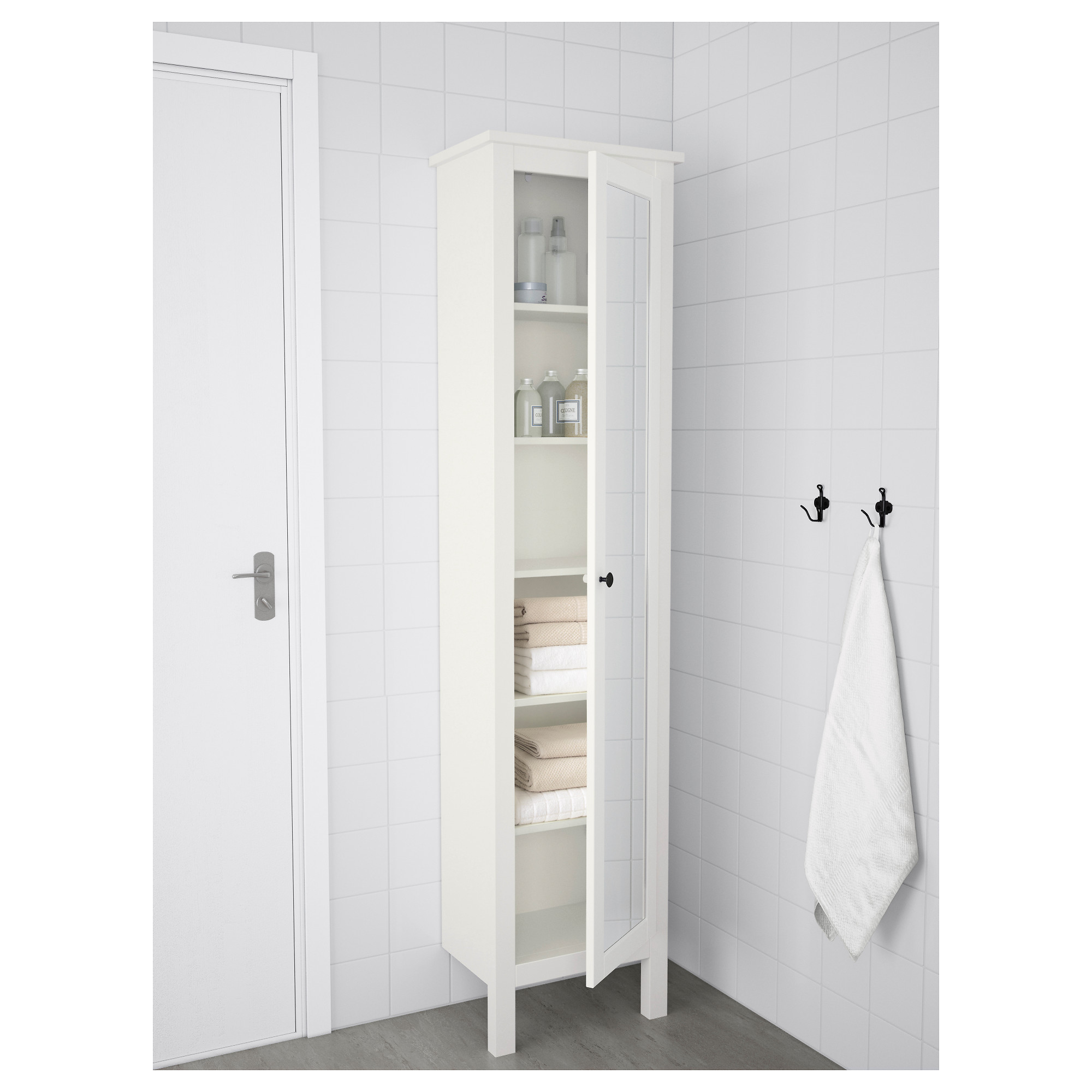 Bathroom Mirror Door hemnes high cabinet with mirror door - white - ikea