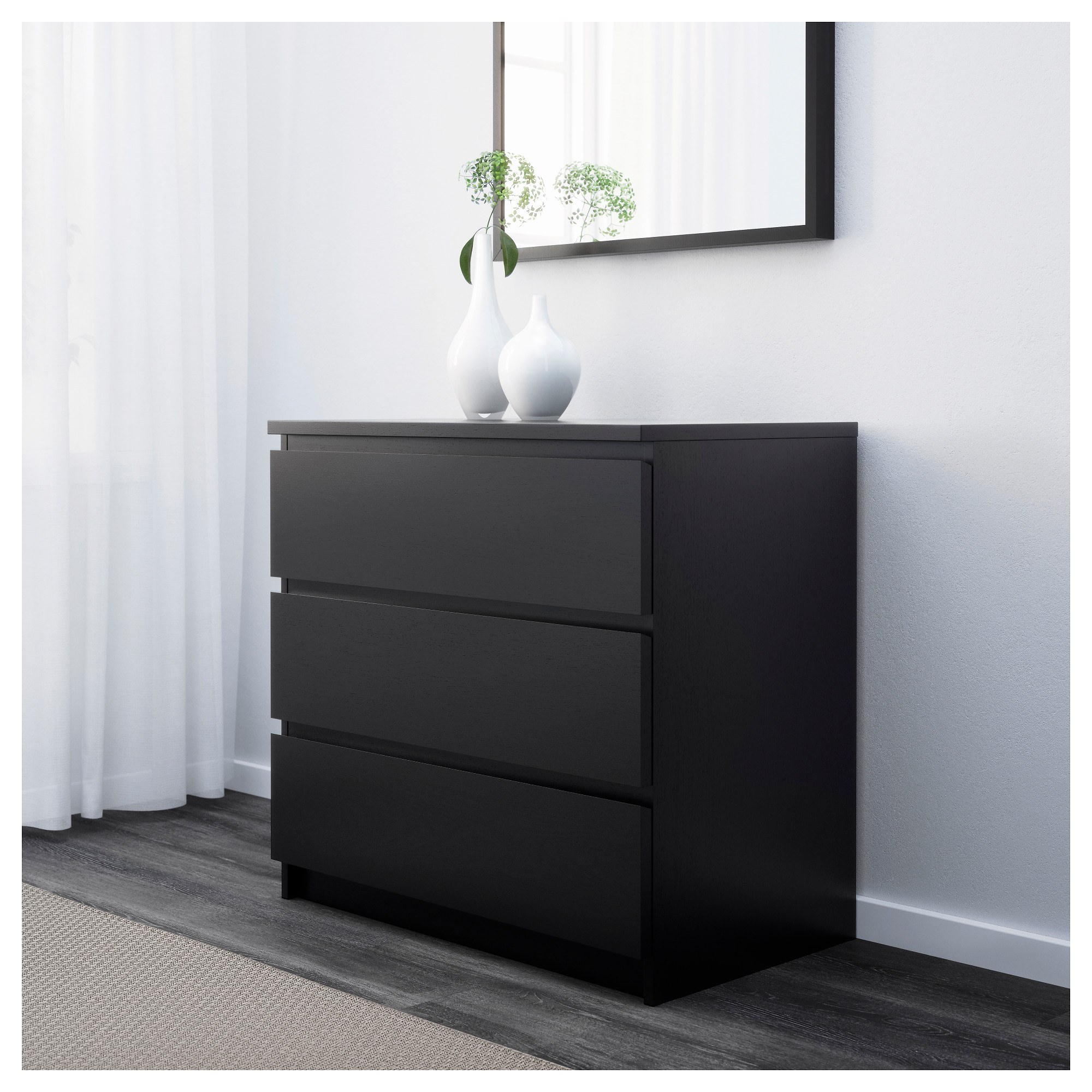 MALM Chest of 3 drawers - black-brown - IKEA