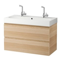 "GODMORGON /  BRÅVIKEN sink cabinet with 2 drawers, white stained oak effect Width: 40 1/8 "" Sink cabinet width: 39 3/8 "" Depth: 19 1/4 "" Width: 102 cm Sink cabinet width: 100 cm Depth: 49 cm"