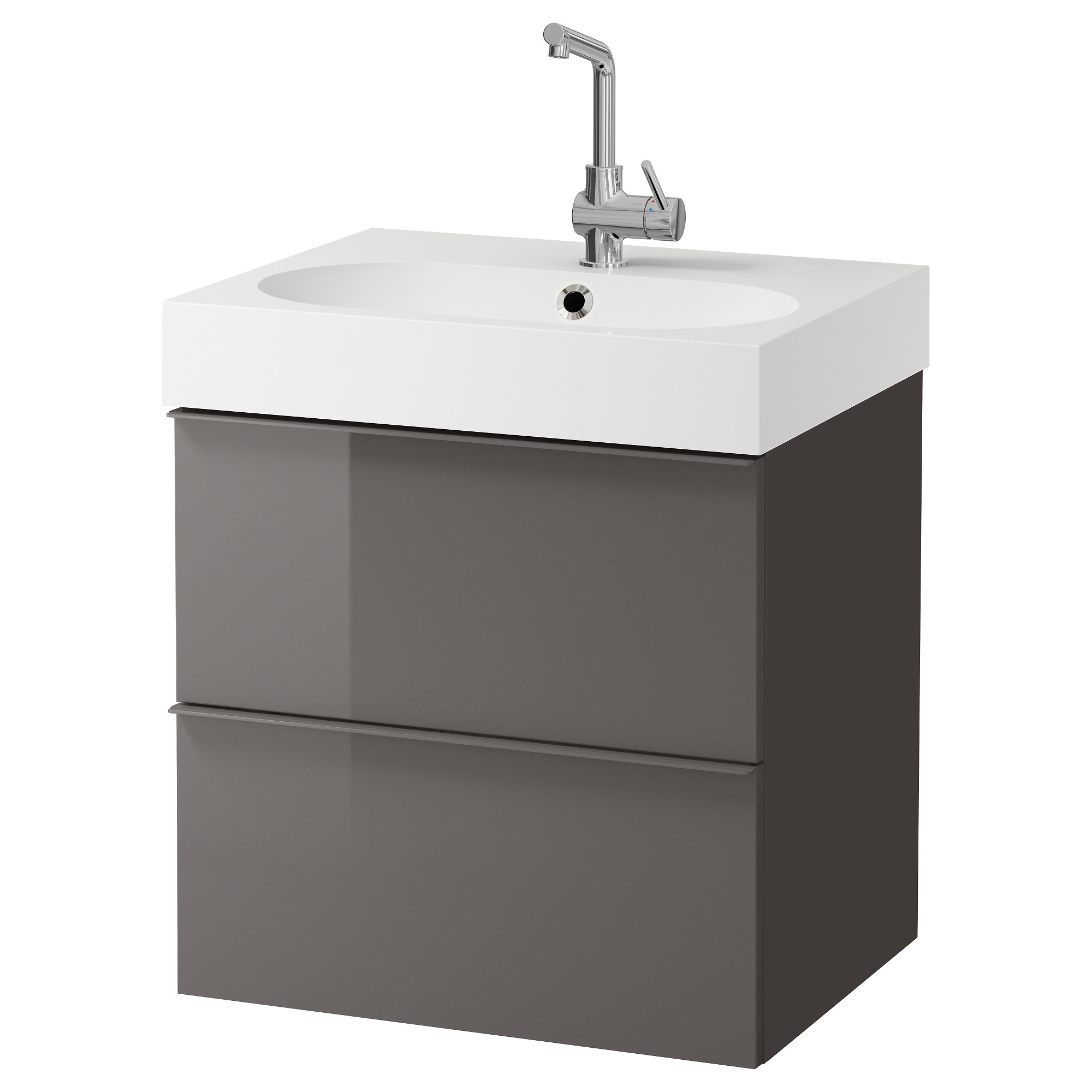 GODMORGON BR…VIKEN Sink cabinet with 2 drawers high gloss gray