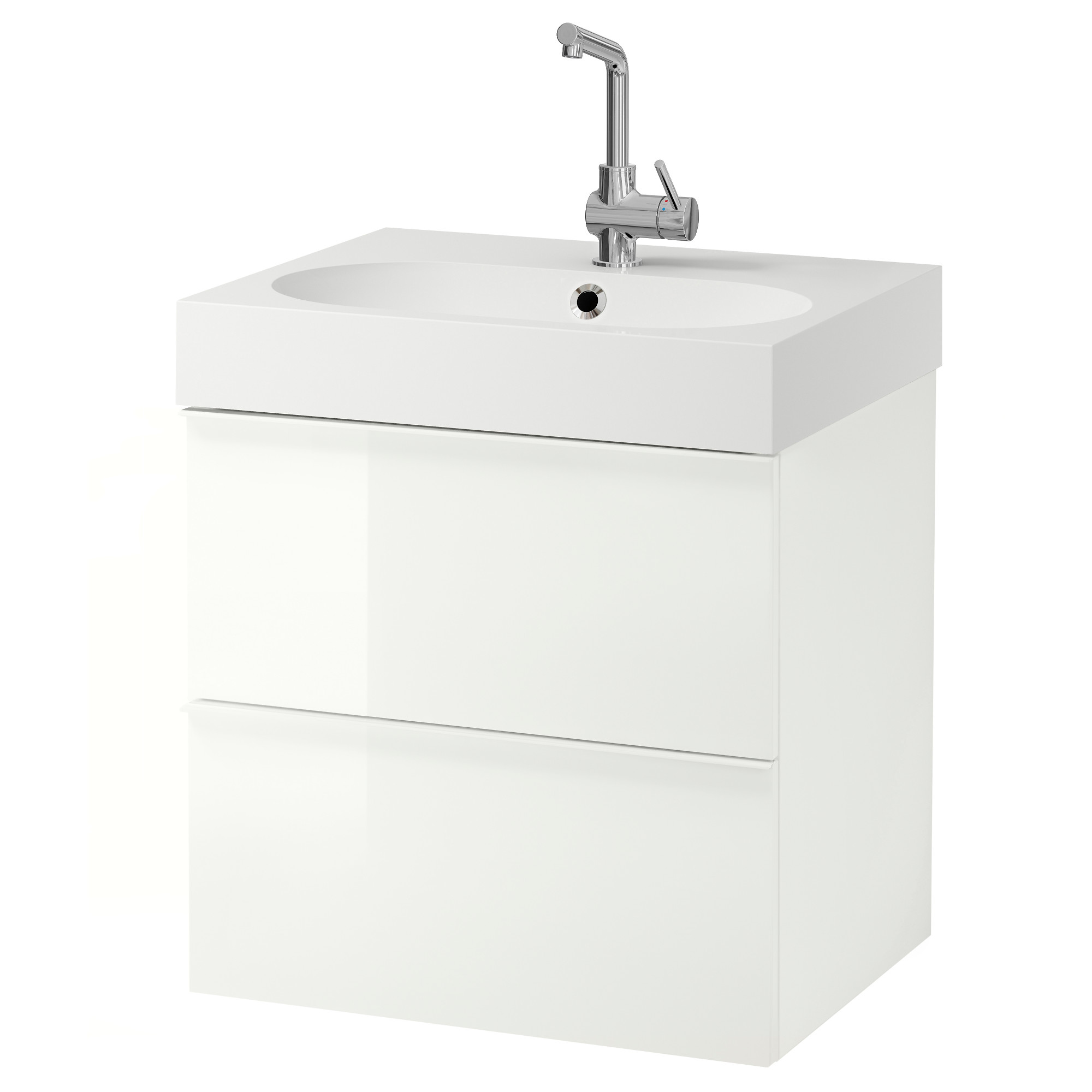 GODMORGON / BRÅVIKEN Sink cabinet with 2 drawers - white - IKEA