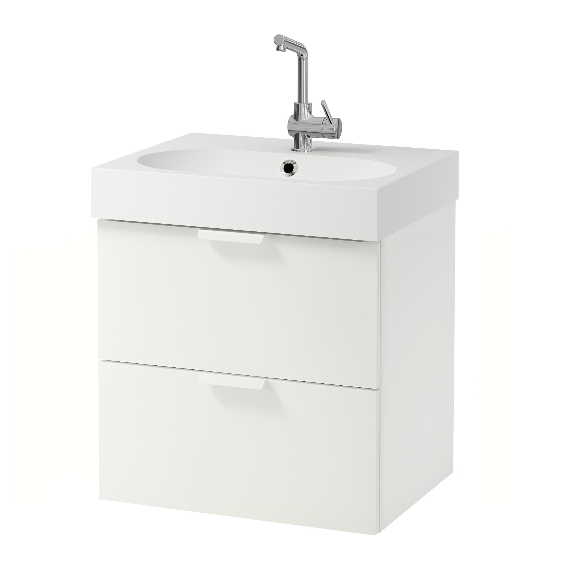 GODMORGON / BRÅVIKEN Sink Cabinet With 2 Drawers, White Width: 24 3/8
