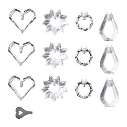 STRÅLA decoration for light chain, glass prism Package quantity: 12 pack Package quantity: 12 pack