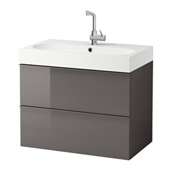 GODMORGON / BRÅVIKEN, Sink cabinet with 2 drawers, gray high gloss gray