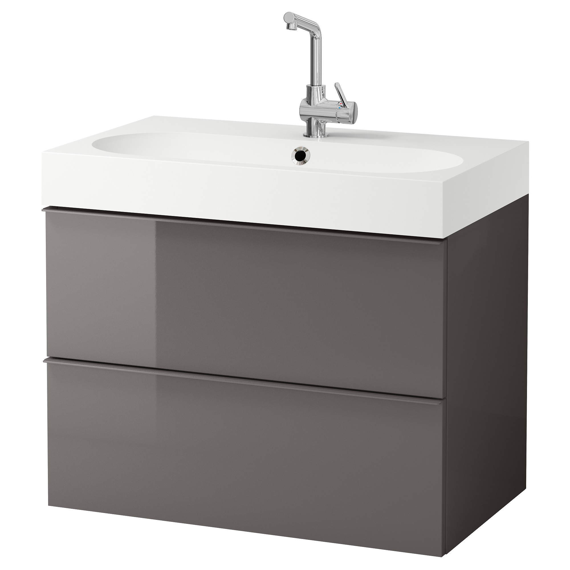 GODMORGON / BRÅVIKEN Sink Cabinet With 2 Drawers, Gray High Gloss Gray  Width: 32