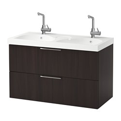 GODMORGON /  EDEBOVIKEN wash-stand with 2 drawers, black-brown Width: 102 cm Wash-stand width: 100 cm Depth: 49 cm