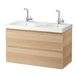 GODMORGON /  EDEBOVIKEN wash-stand with 2 drawers, white stained oak effect Width: 102 cm Wash-stand width: 100 cm Depth: 49 cm