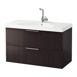 "GODMORGON /  EDEBOVIKEN sink cabinet with 2 drawers, black-brown Width: 40 1/8 "" sink cabinet width: 39 3/8 "" Depth: 19 1/4 "" Width: 102 cm sink cabinet width: 100 cm Depth: 49 cm"