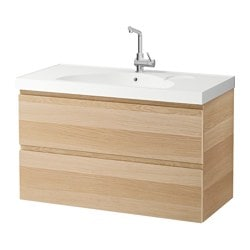 "GODMORGON /  EDEBOVIKEN sink cabinet with 2 drawers, white stained oak effect Width: 40 1/8 "" Sink cabinet width: 39 3/8 "" Depth: 19 1/4 "" Width: 102 cm Sink cabinet width: 100 cm Depth: 49 cm"