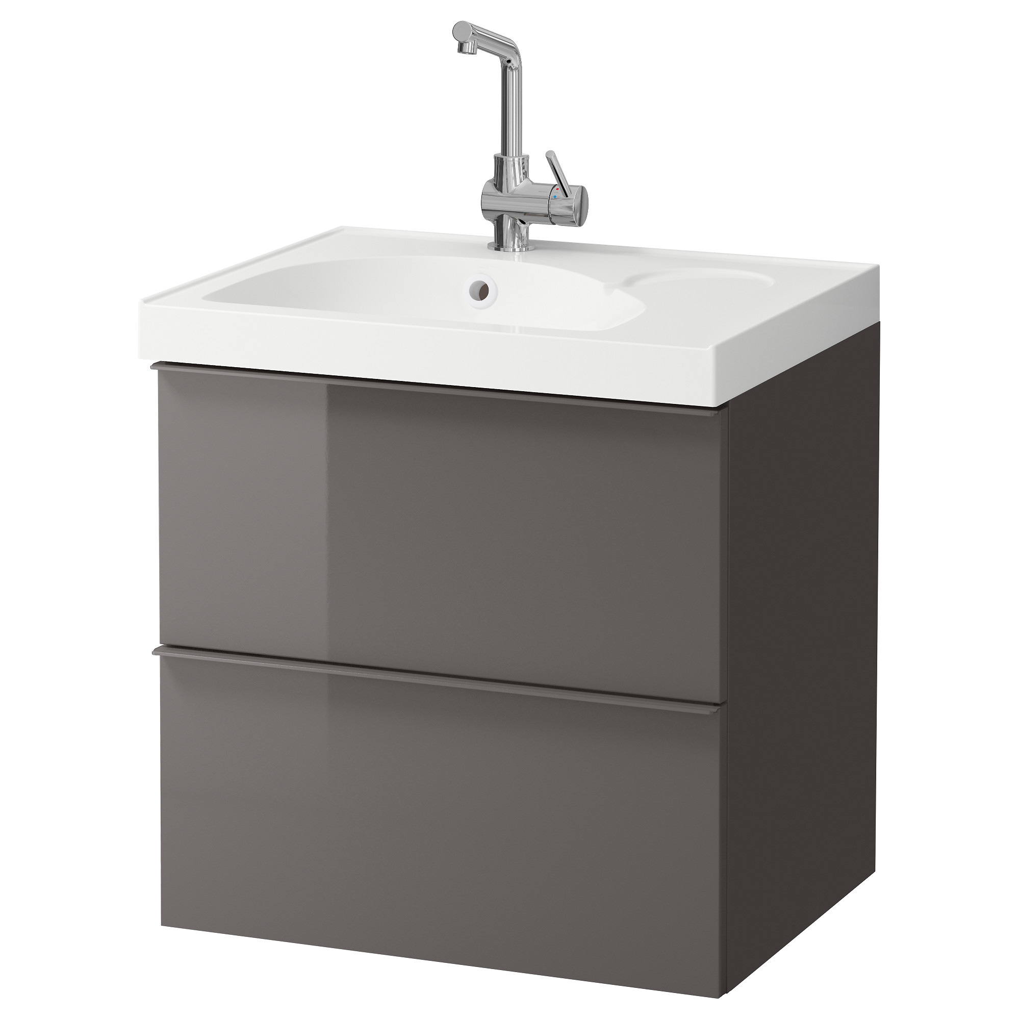 Bathroom cabinets ottawa - Godmorgon Edeboviken Sink Cabinet With 2 Drawers High Gloss Gray Width 24 3