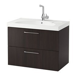 "GODMORGON /  EDEBOVIKEN sink cabinet with 2 drawers, black-brown Width: 32 1/4 "" Sink cabinet width: 31 1/2 "" Depth: 19 1/4 "" Width: 82 cm Sink cabinet width: 80 cm Depth: 49 cm"