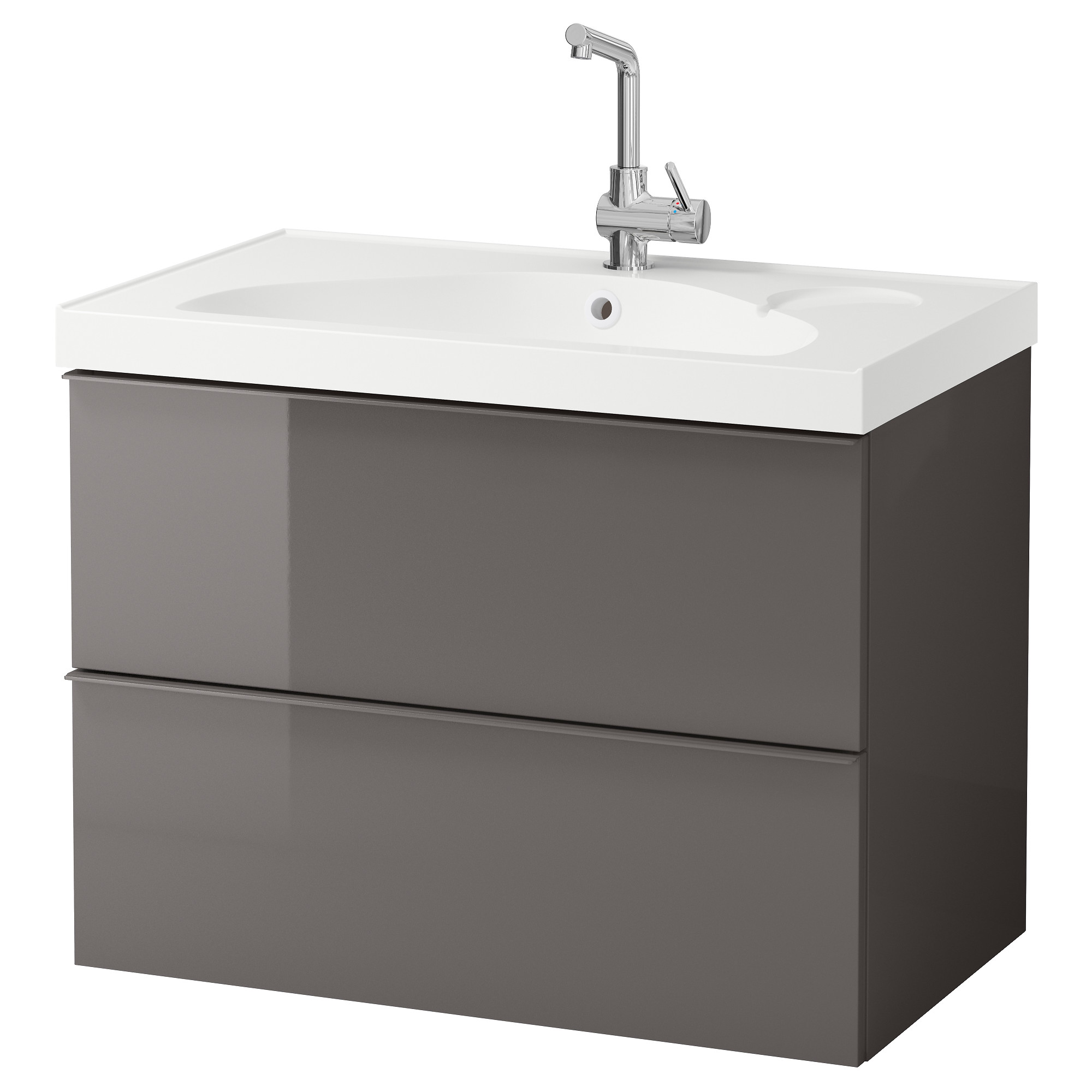 Bathroom sink cabinets white - Godmorgon Edeboviken Sink Cabinet With 2 Drawers High Gloss Gray Width 32 1