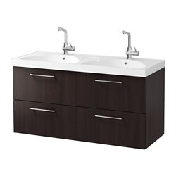 "GODMORGON /  EDEBOVIKEN sink cabinet with 4 drawers, black-brown Width: 48 "" sink cabinet width: 47 1/4 "" Depth: 19 1/4 "" Width: 122 cm sink cabinet width: 120 cm Depth: 49 cm"