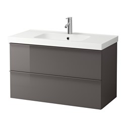 GODMORGON /  ODENSVIK wash-stand with 2 drawers, high-gloss grey Width: 103 cm Wash-stand width: 100 cm Depth: 49 cm