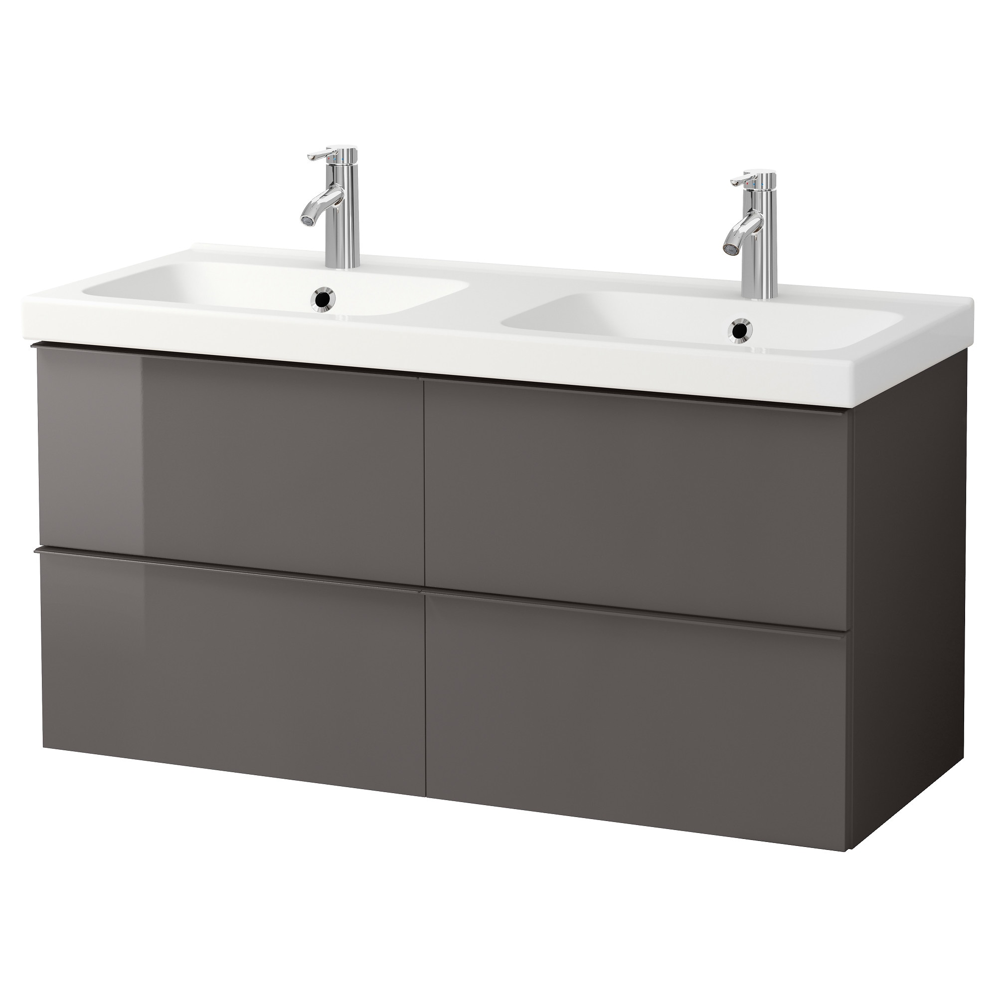 Odensvik Sink Cabinet With 4 Drawers, High Gloss Gray Width: 48  3