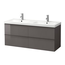 "GODMORGON /  ODENSVIK sink cabinet with 4 drawers, high gloss gray Width: 55 1/2 "" Sink cabinet width: 55 1/8 "" Depth: 19 1/4 "" Width: 141 cm Sink cabinet width: 140 cm Depth: 49 cm"