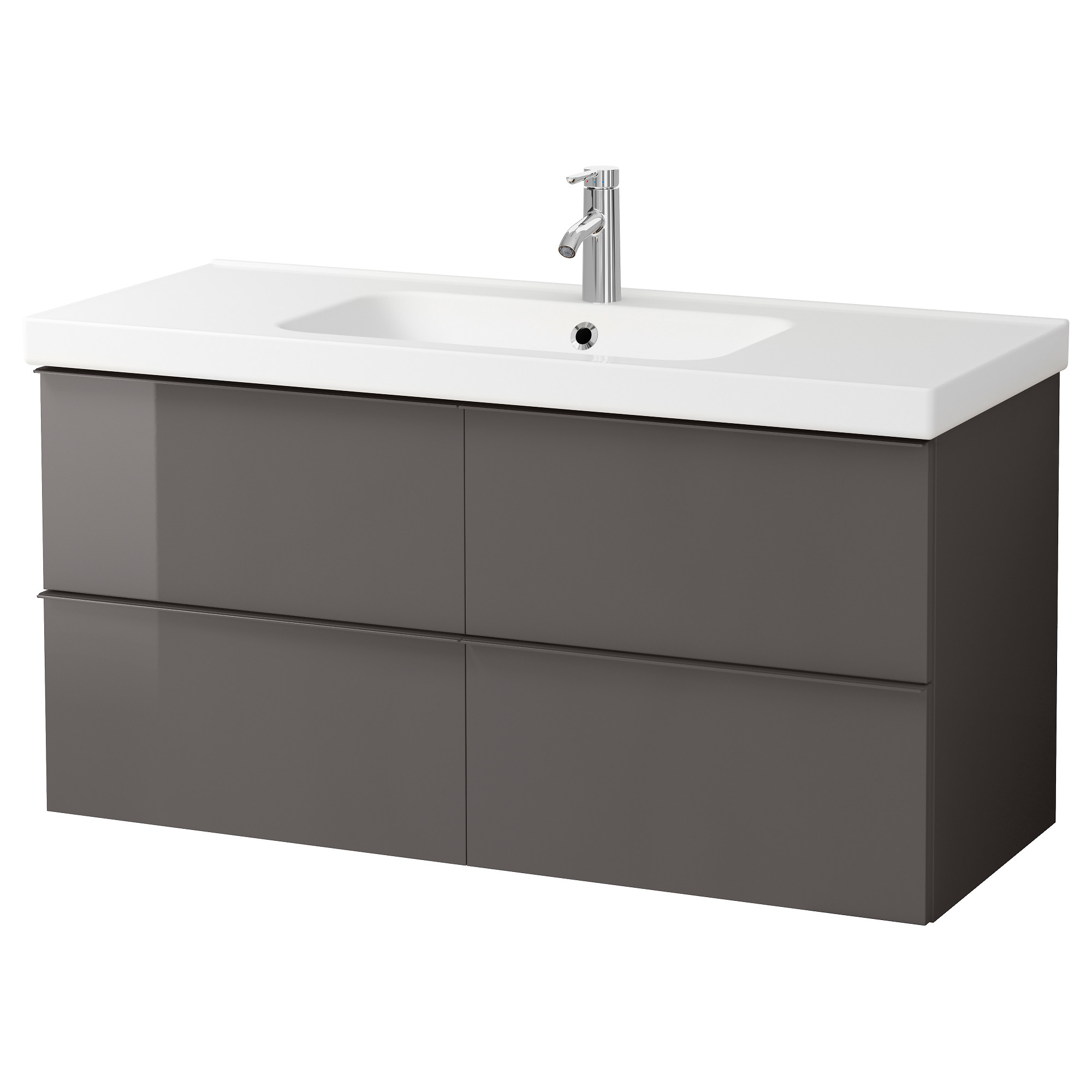 High Quality GODMORGON / ODENSVIK Sink Cabinet With 4 Drawers, High Gloss Gray Width: 48  3