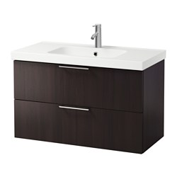 "GODMORGON /  ODENSVIK sink cabinet with 2 drawers, black-brown Width: 40 1/2 "" sink cabinet width: 39 3/8 "" Depth: 19 1/4 "" Width: 103 cm sink cabinet width: 100 cm Depth: 49 cm"