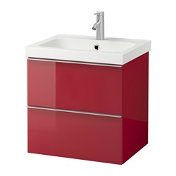 "GODMORGON /  ODENSVIK sink cabinet with 2 drawers, high gloss red Width: 24 3/4 "" Sink cabinet width: 23 5/8 "" Depth: 19 1/4 "" Width: 63 cm Sink cabinet width: 60 cm Depth: 49 cm"