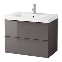 GODMORGON / ODENSVIK, Sink cabinet with 2 drawers, gray high gloss gray