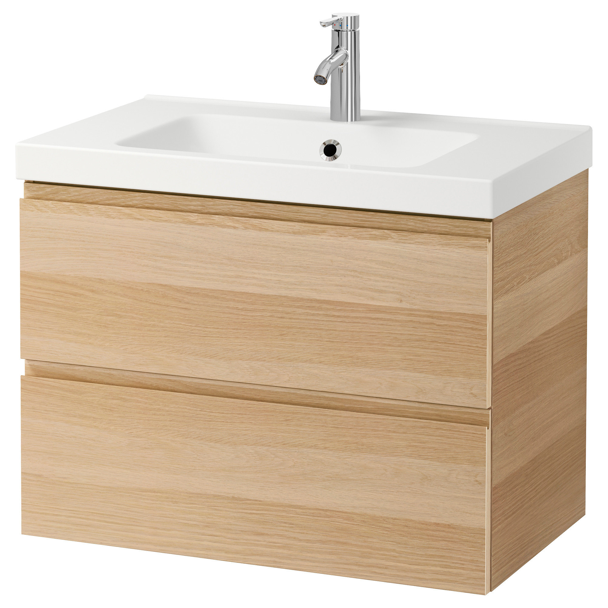 godmorgon / odensvik sink cabinet with 2 drawers - high gloss gray