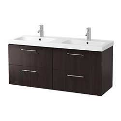 "GODMORGON /  ODENSVIK sink cabinet with 4 drawers, black-brown Width: 55 1/2 "" sink cabinet width: 55 1/8 "" Depth: 19 1/4 "" Width: 141 cm sink cabinet width: 140 cm Depth: 49 cm"