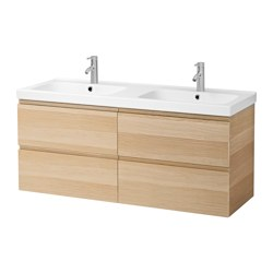 "GODMORGON /  ODENSVIK sink cabinet with 4 drawers, white stained oak effect Width: 55 1/2 "" sink cabinet width: 55 1/8 "" Depth: 19 1/4 "" Width: 141 cm sink cabinet width: 140 cm Depth: 49 cm"