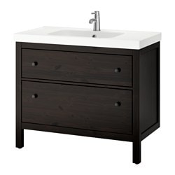 HEMNES / ODENSVIK, Sink cabinet with 2 drawers, black-brown stain