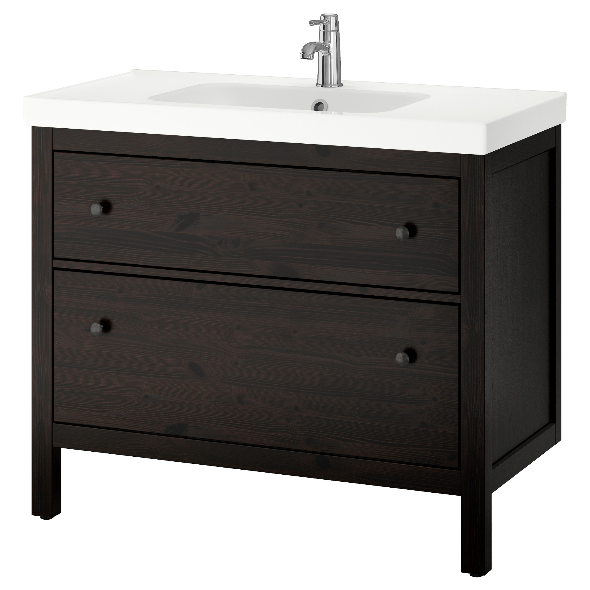 HEMNES ODENSVIK Sink cabinet with 2 drawers black brown stain IKEA