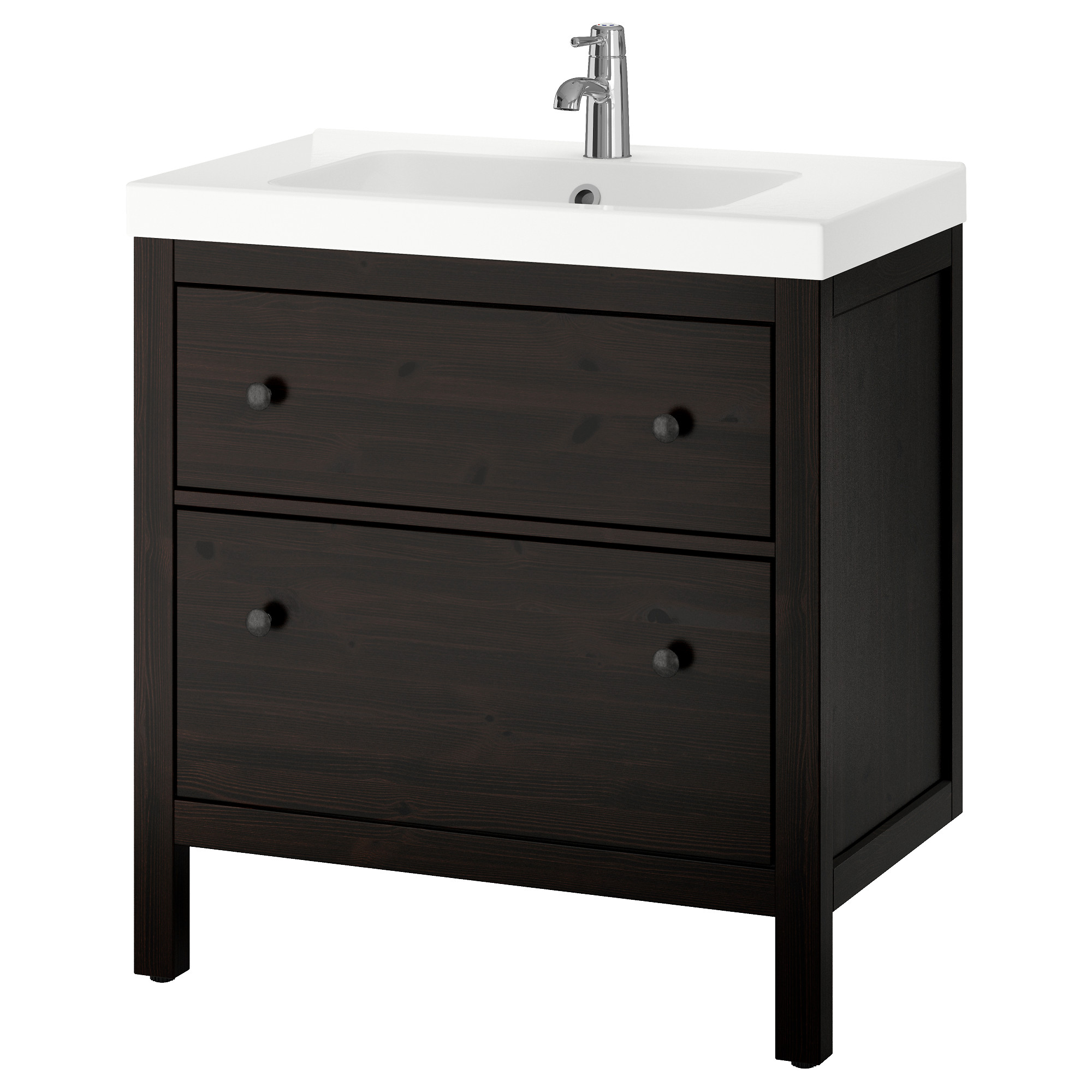HEMNES / ODENSVIK Sink Cabinet With 2 Drawers, Black Brown Stain Width: 32