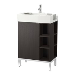 LILLÅNGEN washbasin cab 1 door/2 end units, black-brown Width: 60 cm Depth: 41 cm Height: 92 cm