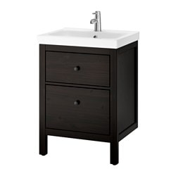 "HEMNES /  ODENSVIK sink cabinet with 2 drawers, black-brown stain Width: 24 3/4 "" Sink cabinet width: 23 5/8 "" Depth: 19 1/4 "" Width: 63 cm Sink cabinet width: 60 cm Depth: 49 cm"
